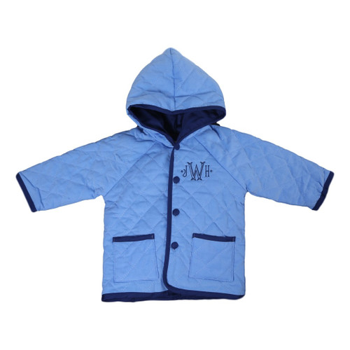 beispiellos neueste Kollektion günstig Light Blue and Navy Cord Quilted Coat