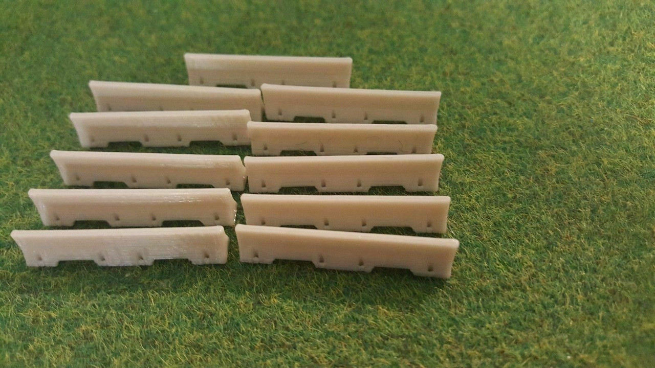 1:76 3D Printed Concrete/ Jersey Barriers - 12pkt