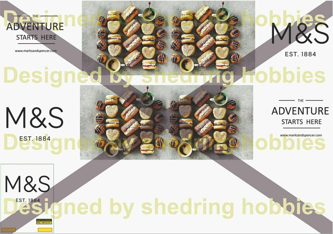 1:76 M&S Cake Decals for Oxford Diecast Box Trailer