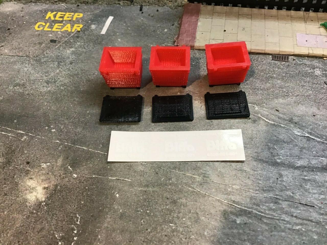 1:76 scale / 00 Gauge 3D Printed Industrial Bin x3