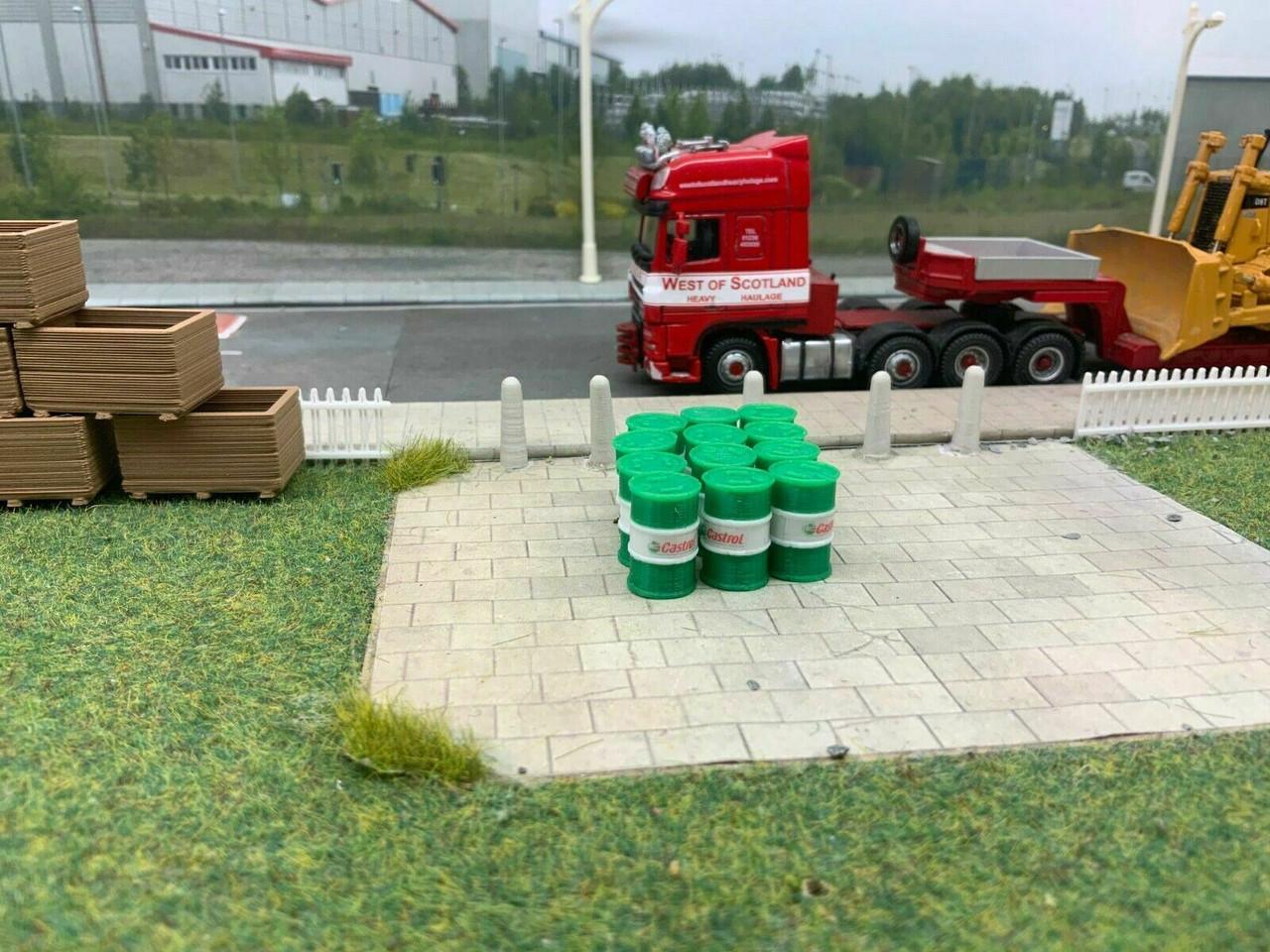Oil Barrels 1:76 3D Printed Green & White - 12pkt
