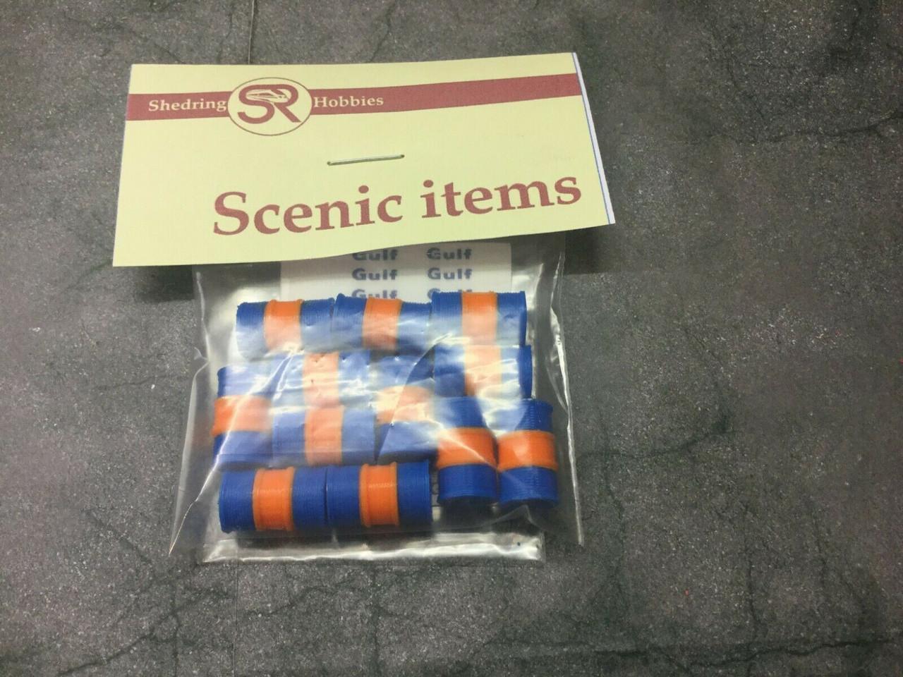1:76 scale / 00 Gauge 3d Printed oil Barrels. pack of 12 (blue & orange)