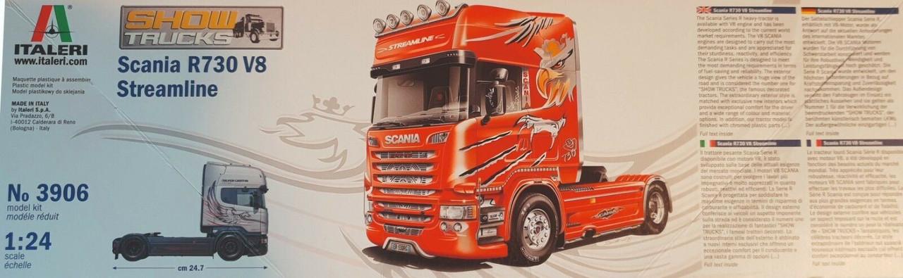 "Italeri 1: 24Scania  R730 V8 streamline ""silver griffin"" Vehicle"