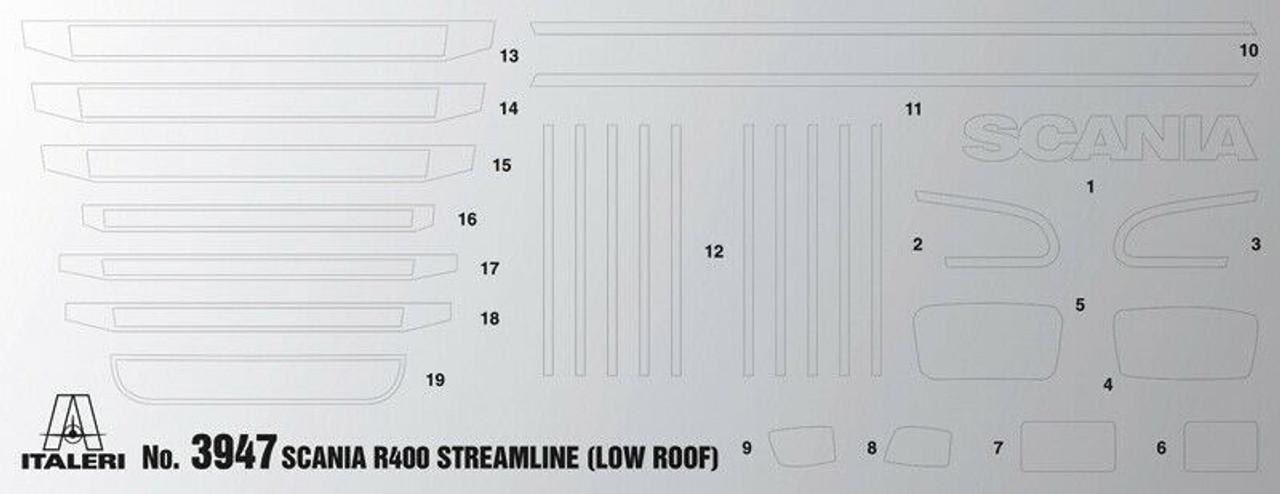 italeri 3947 1:24 scale SCANIA R400 STREAMLINE Flat Roof