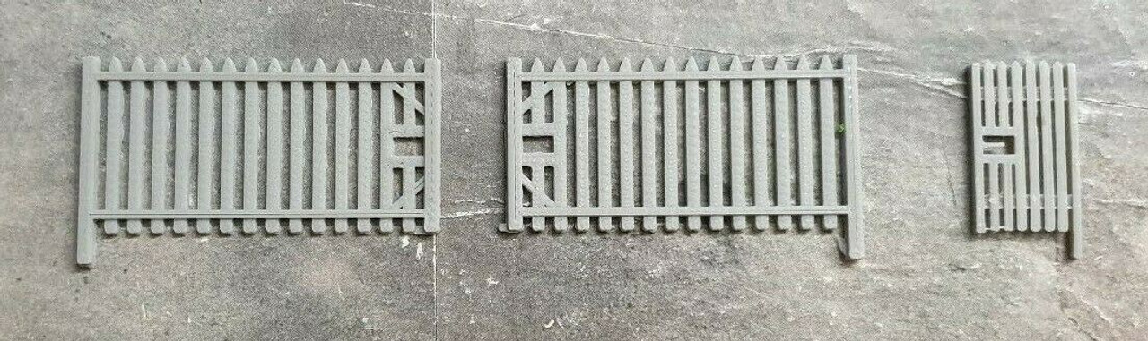 1/76 Scale 3d Printed Palisade Fence& Gates 5 x 257 mm long sections (Grey)