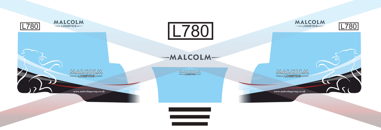 1.76 Malcolm Logistics Decals Scania cab and trailer (vinyl)