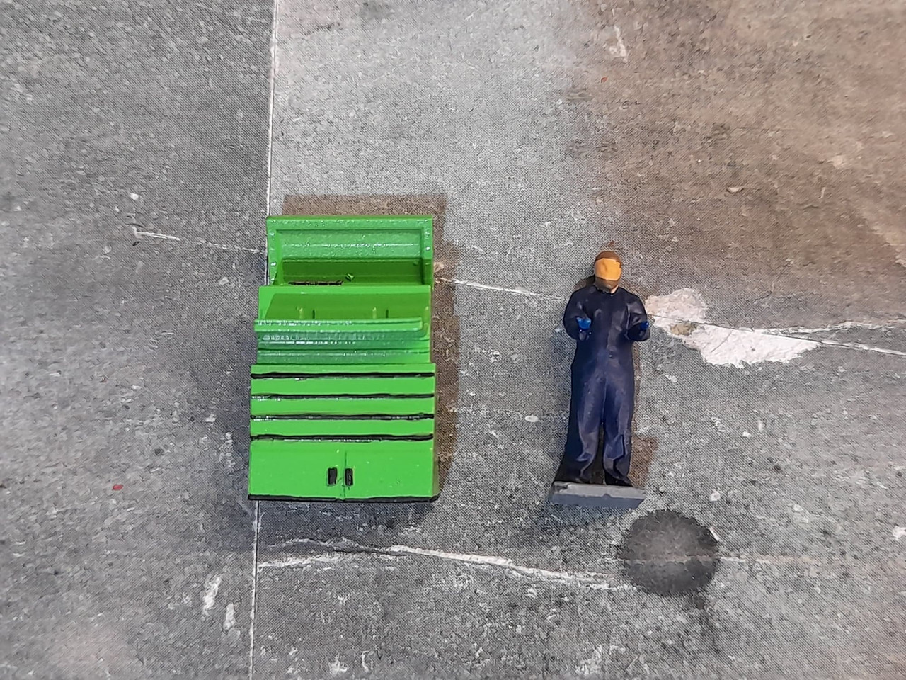 High detailed resin printed toolbox and figure (Painted)