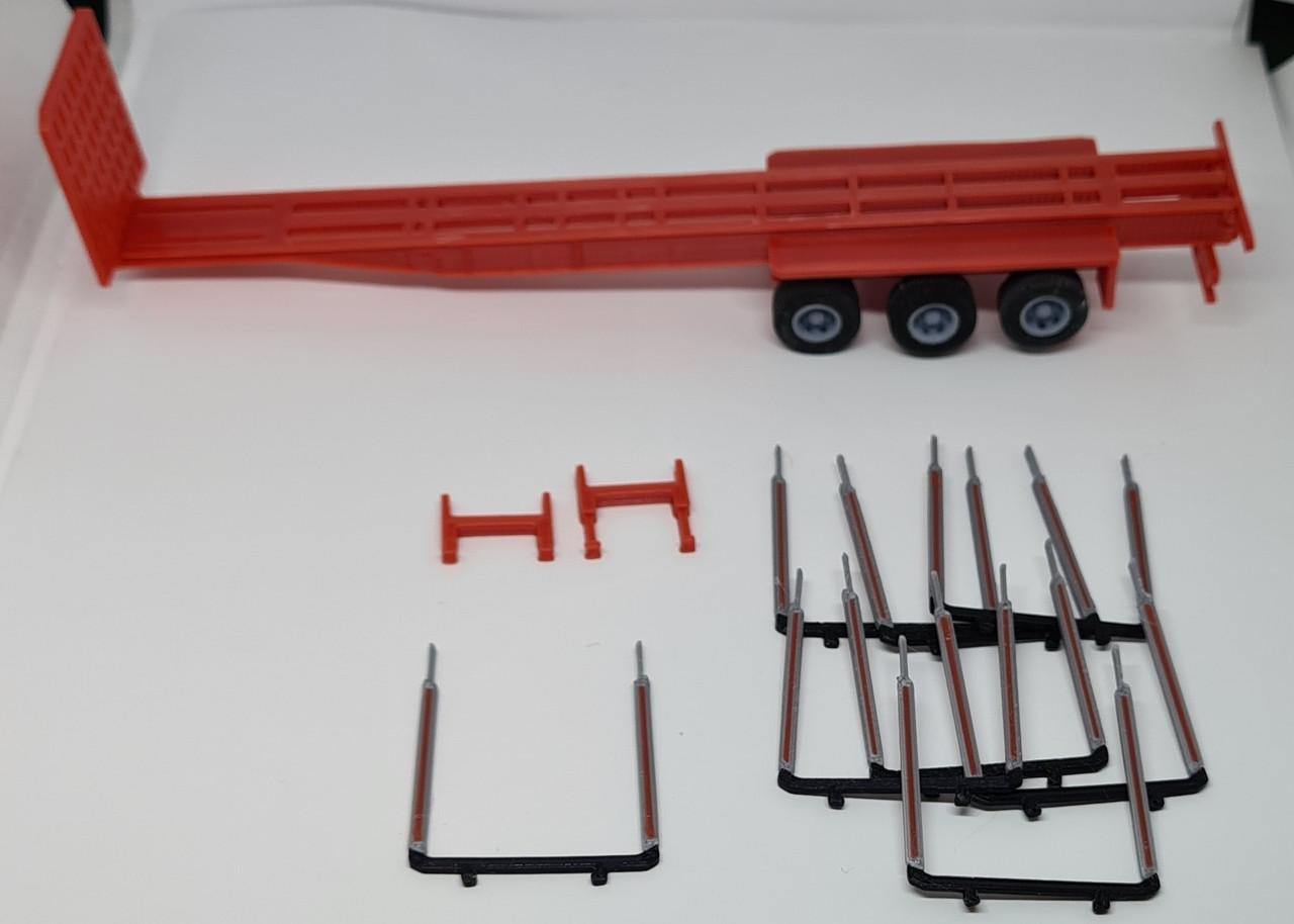 3D Printed 1:76 modular log trailer (Red) fits oxford diecast/ Corgi