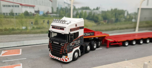 1:76 Oxford Diecast Scania Topline Nooteboom Low loader Smiths, Bridgend