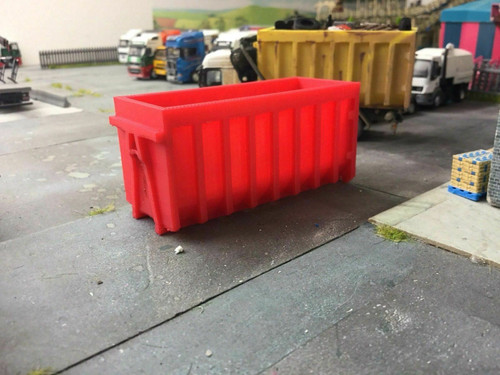 1.76 3D Printed Red Skip - Would suit 1.72 Scale and 00 Gauge