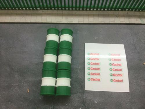 6X 3D Printed  1/43 Scale Green & White Oil Barrel , Accessories , Load, Diorama