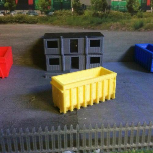 1.148, N Scale 3D Printed Yellow Skips - 2pk