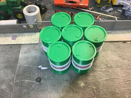 1:18 scale 3D Printed Oil barrel (Green & White)