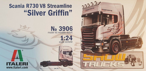 "Italeri 1: 24 Scania  R730 V8 streamline ""silver griffin"" Vehicle"