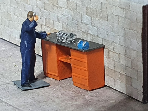 resin printed figure and highly detailed workbench