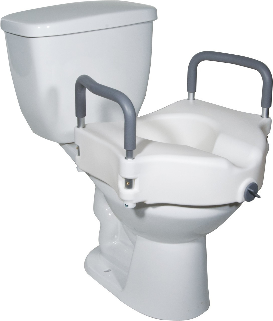 Fantastic 2 In 1 Locking Raised Toilet Seat With Tool Free Removable Arms Dailytribune Chair Design For Home Dailytribuneorg