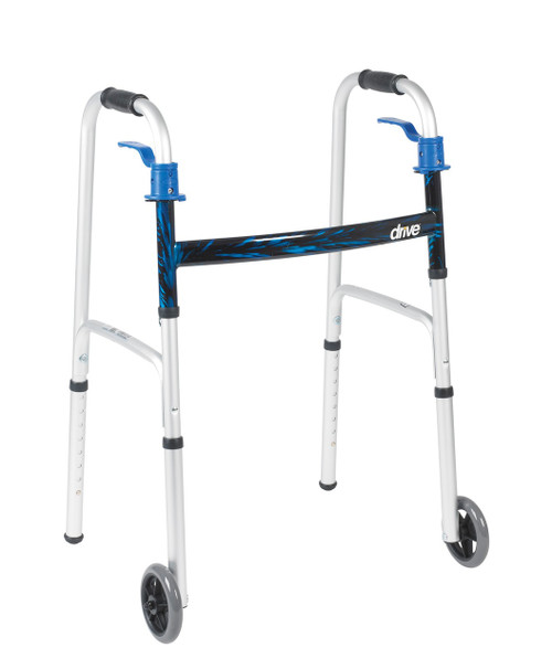 "DELUXE, TRIGGER RELEASE FOLDING WALKER WITH 5"" WHEELS"