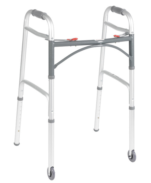 "DELUXE FOLDING WALKER, TWO BUTTON WITH 3"" WHEELS"