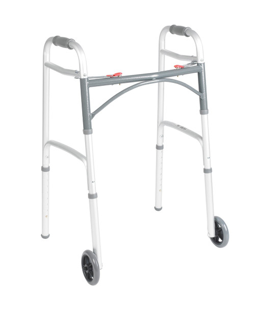 "JUNIOR DELUXE FOLDING WALKER, TWO BUTTON WITH 5"" WHEELS"