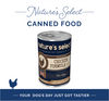 """A photo of a 12.5-oz can of Nature's Select Chicken Paté Canned Food with text in the background that says """"Nature's Select Canned Food"""" on the top and """"Your Dog's Day Just Got Tastier."""""""