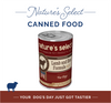 """A photo of a 12.5-oz can of Nature's Select Lamb & Rice Paté Canned Food with text in the background that says """"Nature's Select Canned Food"""" on the top and """"Your Dog's Day Just Got Tastier."""""""