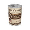 12.5-oz can of Nature's Select Turkey & Sweet Potato Stew dog food.