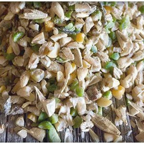 Upclose photo of the chicken feed.