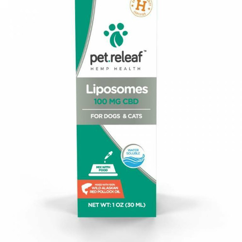 Photo of the front side of the box of Pet Releaf Liposome Hemp Oil 100 (1 oz/30ml).