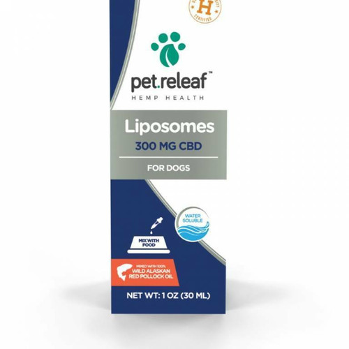 Photo of the front side of the box of Pet Releaf Liposome Hemp Oil 300 (1 oz/30ml).