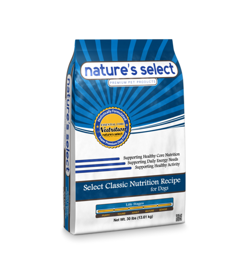 Image of a 30-lb bag of Nature's Select Select Classic Nutrition Recipe.
