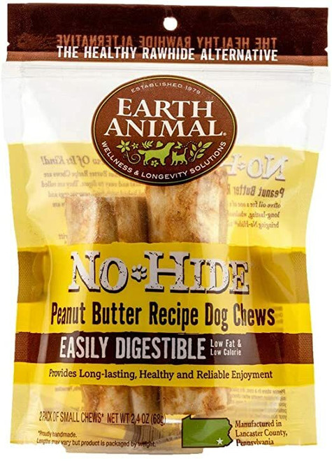 """Photo of the front side of the No-Hide Peanut Butter 4"""" (2-Pack) bag."""