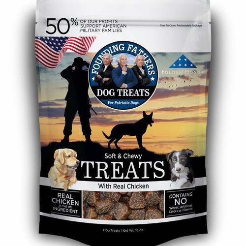Photo of a 1-lb bag of Founding Fathers Chicken Dog Treats.