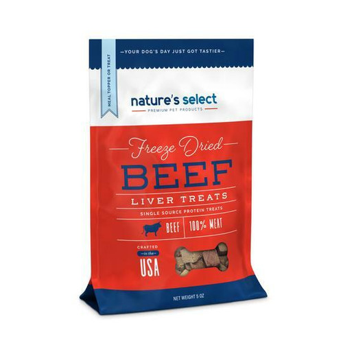 Image of a 5-oz bag of Nature's Select Beef Freeze Dried Liver Treats.