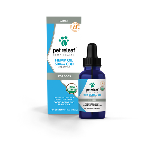 Photo of the front side of a Pet Releaf Hemp Oil 500 box next to a 1-oz bottle.
