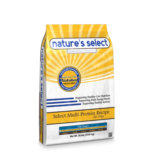Image of a 30-lb bag of Nature's Select Select Multi Protein Recipe.