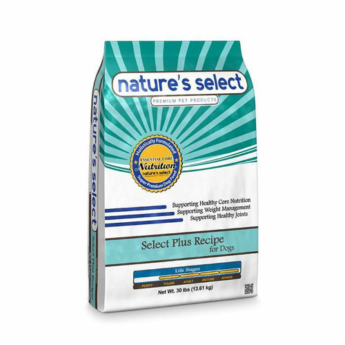 Image of a 30-lb bag of Nature's Select Select Plus Recipe.