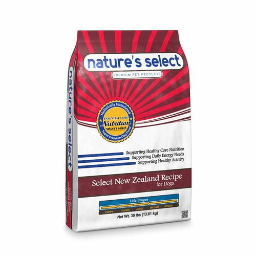 Image of a 30-lb bag of Nature's Select Select New Zealand Recipe.