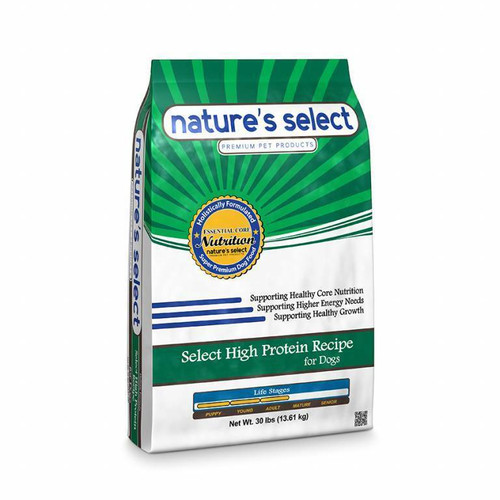 Image of a 30-lb bag of Nature's Select Select High Protein Recipe.