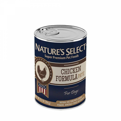 12.5-oz can of Nature's Select Chicken Paté dog food.