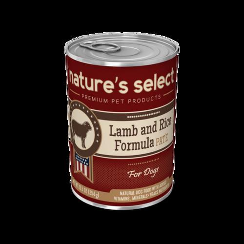 12.5-oz can of Nature's Select Lamb & Rice Paté dog food.