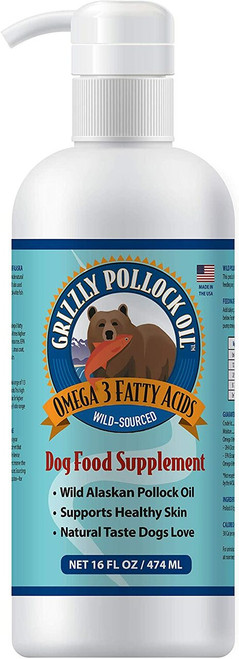 Image of the front side of a 16-oz bottle of Grizzly Wild Alaskan Pollock Oil.
