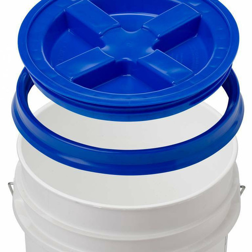 Photo of royal blue GAMMA2 Seal Lid above a white bucket depicting how it would fit on that container.