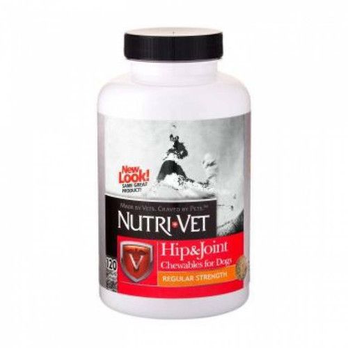 Image of a bottle of Nutri-Vet Hip & Joint chewable tablets for dogs.