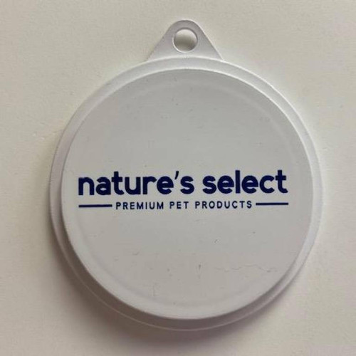 Round, flat, white plastic can cover with a tab for easy-lifting with the blue Nature's Select logo printed on it.