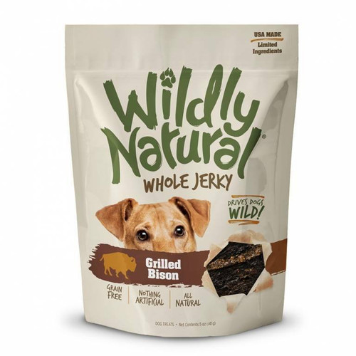 A photo of the front side of the bag of the Fruitables Wildly Natural Whole Jerky - Grilled Bison.