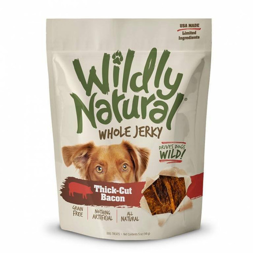 A photo of the front side of the bag of the Fruitables Wildly Natural Whole Jerky - Thick Cut Bacon.