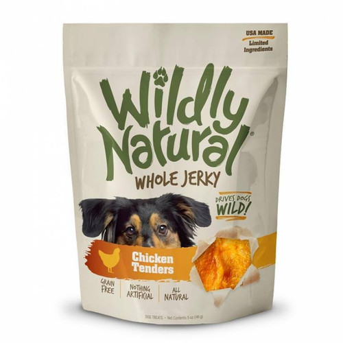 A photo of the front side of the bag of the Fruitables Wildly Natural Whole Jerky - Chicken Tenders.