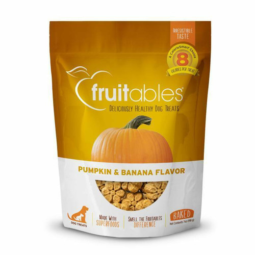 A photo of the front side of the bag of the Fruitables Pumpkin & Banana Dog Treats.