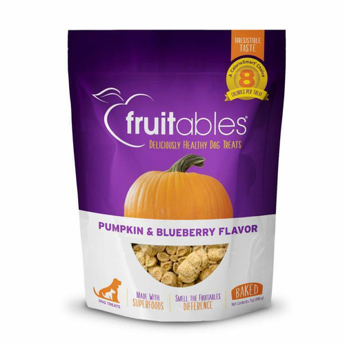 A photo of the front side of the bag of the Fruitables Pumpkin & Blueberry Dog Treats.