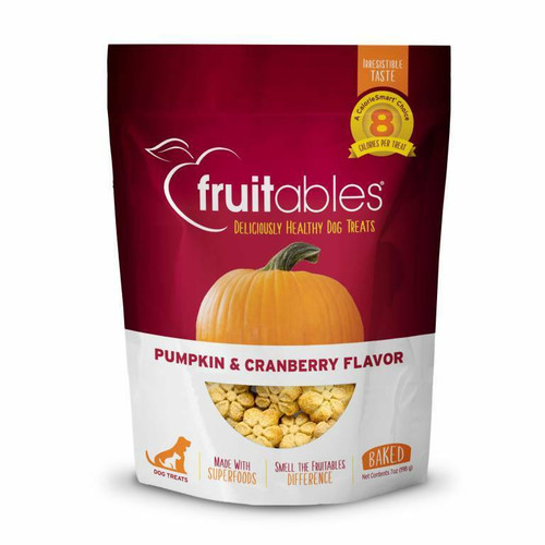 A photo of the front side of the bag of the Fruitables Pumpkin & Cranberry Dog Treats.